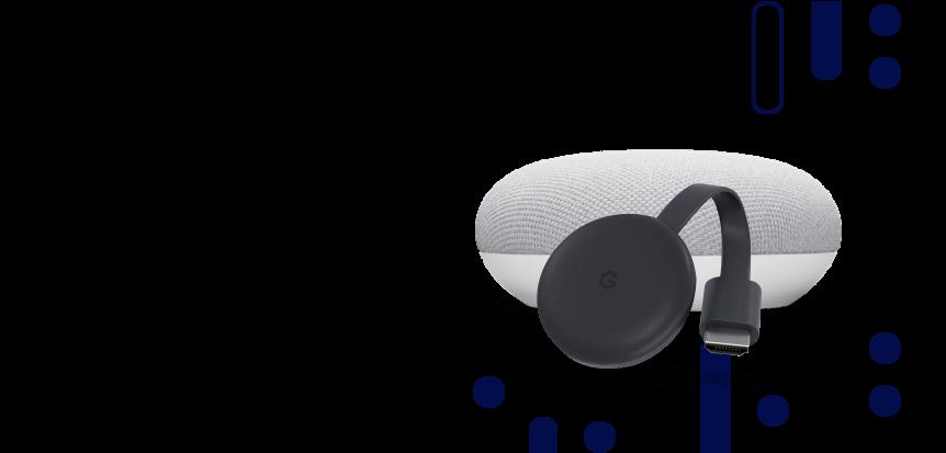 Montagem de objetos inteligentes para a casa, como aparelho de chromecast e assistente de voz.